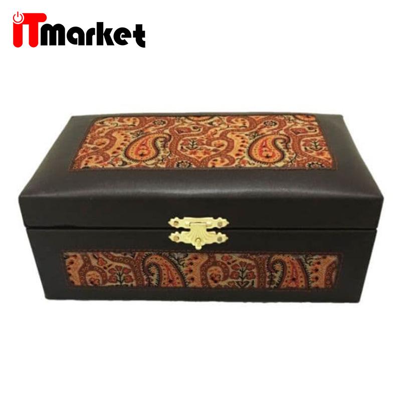 صندوقچه جواهرات 17×12 آنالین و ترمه – کد 20111