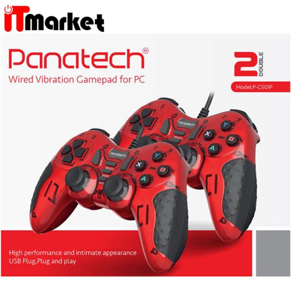 دسته بازی حرفه ای دوبل شوکدار پاناتک - Panatech مدل G501 سفید برای Pc