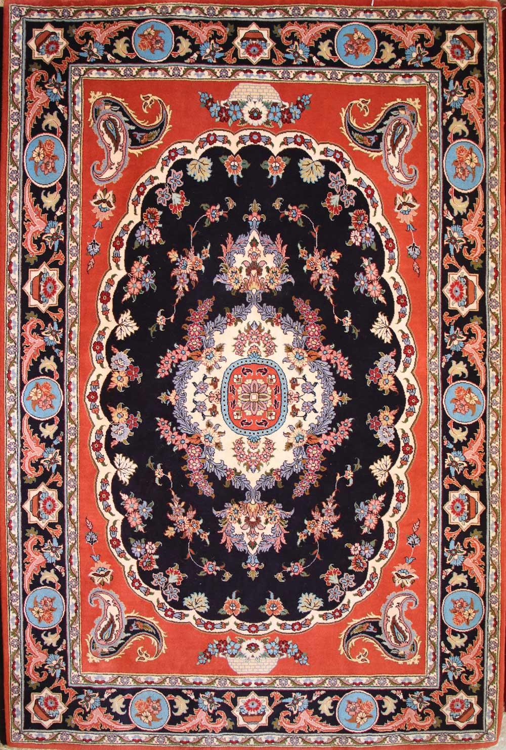 فرش دستبافت شش متری نقشه گلستان تبریز بافت اردبیل