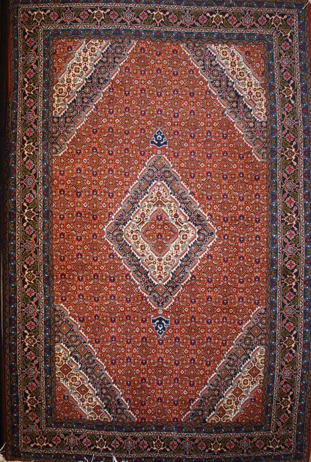 فرش دست بافت شش متری نقشه کسمه لچک ریزماهی اردبیل رنگ مسی