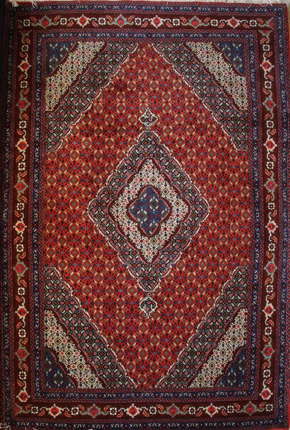 فرش دست بافت 6 متری نقشه کسمه لچک ریزماهی اردبیل رنگ مسی