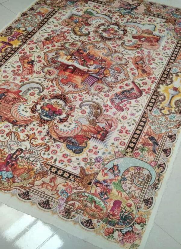 فرش ماشینی 1000 شانه فانتزی چاپی کاشان - کد 1202