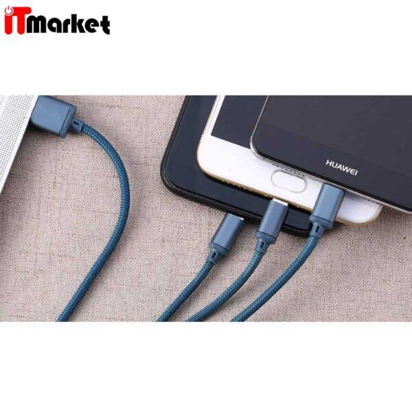 کابل تبدیل USB به microUSB / USB-C /لایتنینگ ریمکس مدل RC-131th طول 1.15 متر